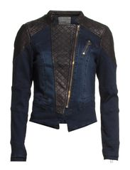 BIKER PU DENIM JACKET DNM - Dark Blue Denim