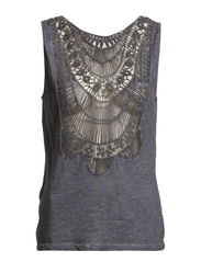 ALMA S/L CHROCHET TOP D2 JRS - Dark Grey Melange