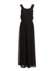 MARYL S/L LONG DRESS WVN - Black