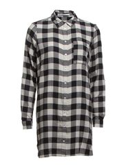 ISABELLA CHECK L/S OVERSIZE SHIRT D2 WVN - Cloud Dancer