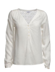 TINA L/S TOP WVN - Cloud Dancer