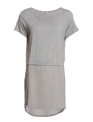 KASANDRA S/S TUNIC WVN - Light Grey Melange