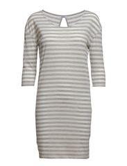 SONJA 3/4 STRIPE DRESS BOX ESS - Light Grey Melange