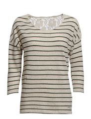 JENNY 3/4 STRIPE LACE TOP ESS - Oatmeal
