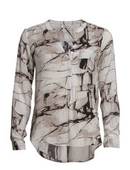 onlSHALLOW MARBLE AOP L/S TUNIC WVN - Cloud Dancer