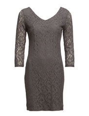 onlPAULINE 4/5 LACE SHORT DRESS WVN - Smoked Pearl
