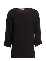 onlYOYO LACE 3/4 LACE TOP WVN - Black