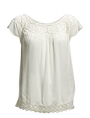 onlHARPER S/S OFF-SHOULDER TOP WVN - Cloud Dancer