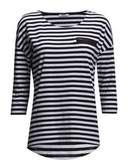 onlCARLO STRIPE 3/4 TOP JRS - White