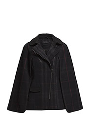 onlPINAR CHECKED WOOL CAPE OTW - DARK NAVY