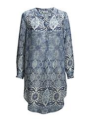 onlSPRINGA L/S LONG SHIRT WVN - White & Blue Pattern
