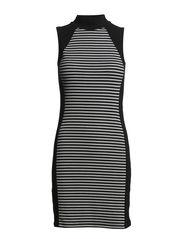 onlMOTTO STRIPE S/L TURTLENECK DRESS JRS - Black
