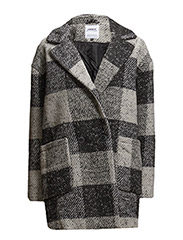 onlCOVENT CHECKED WOOL COAT OTW - BLACK