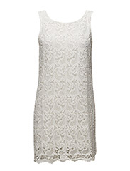 onlSOSSI CROCHET V-BACK S/L DRESS WVN - CLOUD DANCER