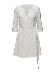 onlNOVA LACE AOP V-NECK 3/4 DRESS WVN - SNOW WHITE