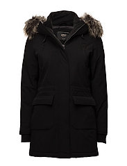 onlSALLY LONG NYLON FUNCTIONAL COAT OTW - BLACK