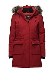 onlSALLY LONG NYLON FUNCTIONAL COAT OTW - SCARLET SAGE