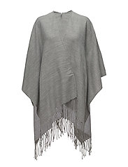 onlNEO JAYA WEAVED PONCHO W/TIEBELT - LIGHT GREY MELANGE