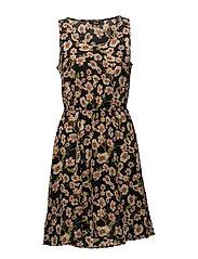 onlNOVA LUX S/L AOP SARAH DRESS WVN - BLACK