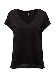 onlREESE S/S V NECK TOP JRS - BLACK