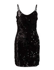 onlNIKITA SEQUIN STRAP SHORT DRESS WVN - BLACK