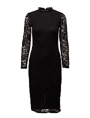 onlEMILY L/S BODYCON CALF DRESS JRS - BLACK