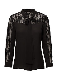 onlSTAR L/S LACE BOW TOP WVN - BLACK