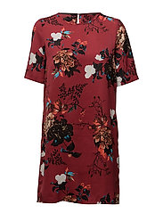 onlRIGA S/S TEE DRESS AOP WVN - SUN-DRIED TOMATO