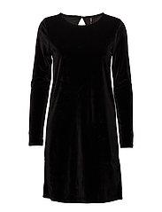 onlVERY VELVET O-NECK LS DRESS JRS - BLACK