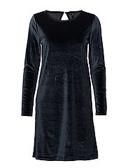onlVERY VELVET O-NECK LS DRESS JRS - SKY CAPTAIN