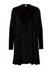 onlODETTE L/S VELOUR DRESS JRS - BLACK