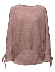 onlNOLETA L/S LACE UP PULLOVER KNT - BLUSH
