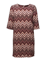 onlNOVA LUX AOP TEE  3/4 DRESS WVN - ROSE DAWN