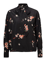onlJAPAAN LS BOW BLOUSE WVN - BLACK