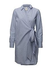 onlROSEL LS WRAP STRIPE DNM DRESS QYT - MEDIUM BLUE DENIM