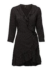 onlLAURA 7/8 AOP WRAP DRESS WVN - BLACK