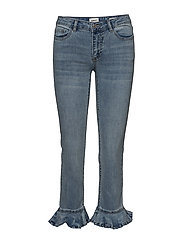 onlNEW SISSI STRAIGHT CROPPED FRIL BJ - LIGHT BLUE DENIM