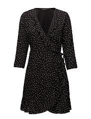 onlEMMA 3/4 WRAP DRESS WVN - BLACK