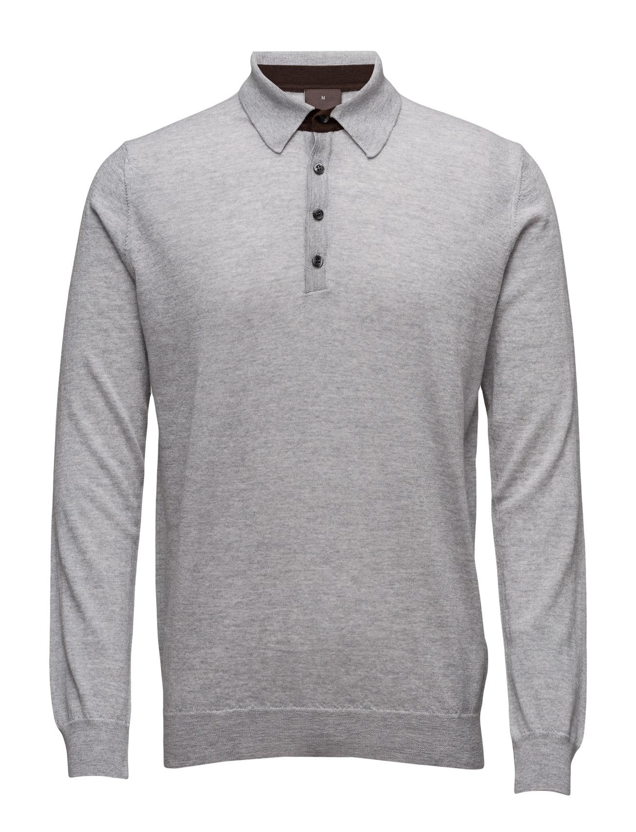Agustin L/S Poloshirt Oscar Jacobson Længærmede polo t-shirts til Herrer i Grå