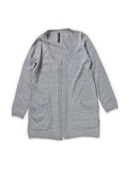 ROSA F LS XLONG KNIT CARDIGAN 514 - Medium Grey Melange