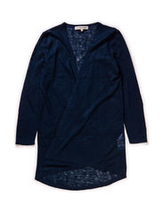 OFNHULA F LS XLONG KNIT CARDIGAN 115 - Dress Blues
