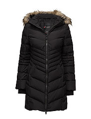 QUEENS LADIES FAUX FUR PUFFER - BLACK