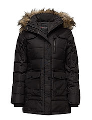 SERENA LADIES LONG PARKA FAUX FUR - BLACK