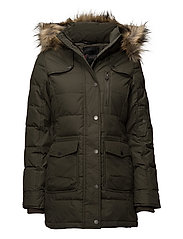 SERENA LADIES LONG PARKA FAUX FUR - MILITARY