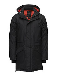 WELLS MENS LONG PARKA - BLACK