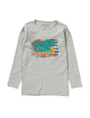 Noa Print T-Shirt - 67 Grey Melange/Green
