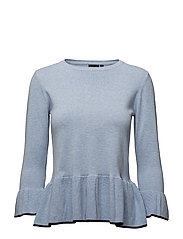 Sweater with flounce - 301 CHAMBRAY BLUE