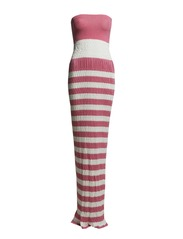 LONG VISCOSE STRETCH DRESS - Pink & White