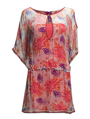 PATTERNED BEACH COVER-UP DRESS - Rose Flowers