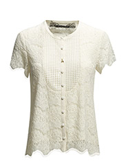MIX FABRIC SHORT SLEEVE SHIRT - Natural